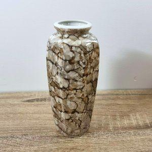 1980s Art Deco Style Vase Octagonal Brown Lustre